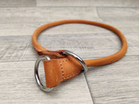 "Ancol Heritage Leather Round Sewn Choke Collar Tan 45cm/18"" Sz 4"
