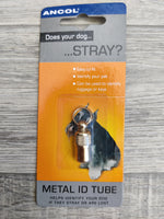 Ancol Brass Dog Metal Tag Id Tube