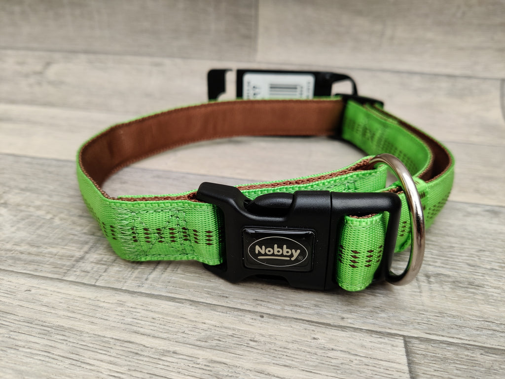 Nobby Soft Grip Dog Collar, 50-65 Cm/25 Mm, Light Green/Brown