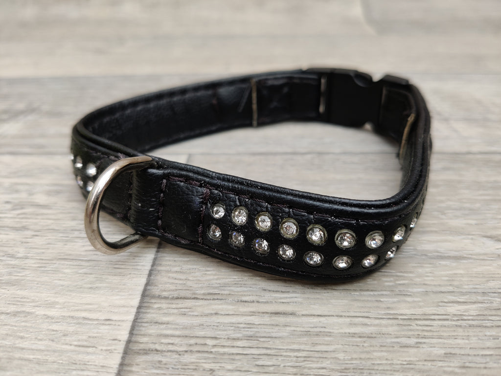 Ferplast Luxury Diamante Dog Collar Black 31cm