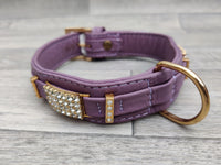 Hi Craft Luxury Designer Leather Dog Collar Lilac 3cm x 40-46cm