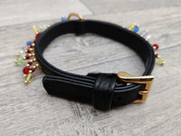 Hi Craft Luxury Designer Rio Jewel Leather Small Dog Collar Black 1cm x 25-32cm