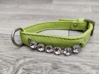 Hi Craft Luxury Designer Diamante Leather Small Dog Collar Lime Green 1cm x 25-32cm