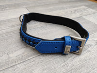 Hi Craft Luxury Designer Leather Dog Collar Monaco Blue 3cm x 47-54cm
