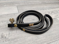 Hi Craft Luxury Designer Leather Dog Lead Black 1.3cm x 130cm