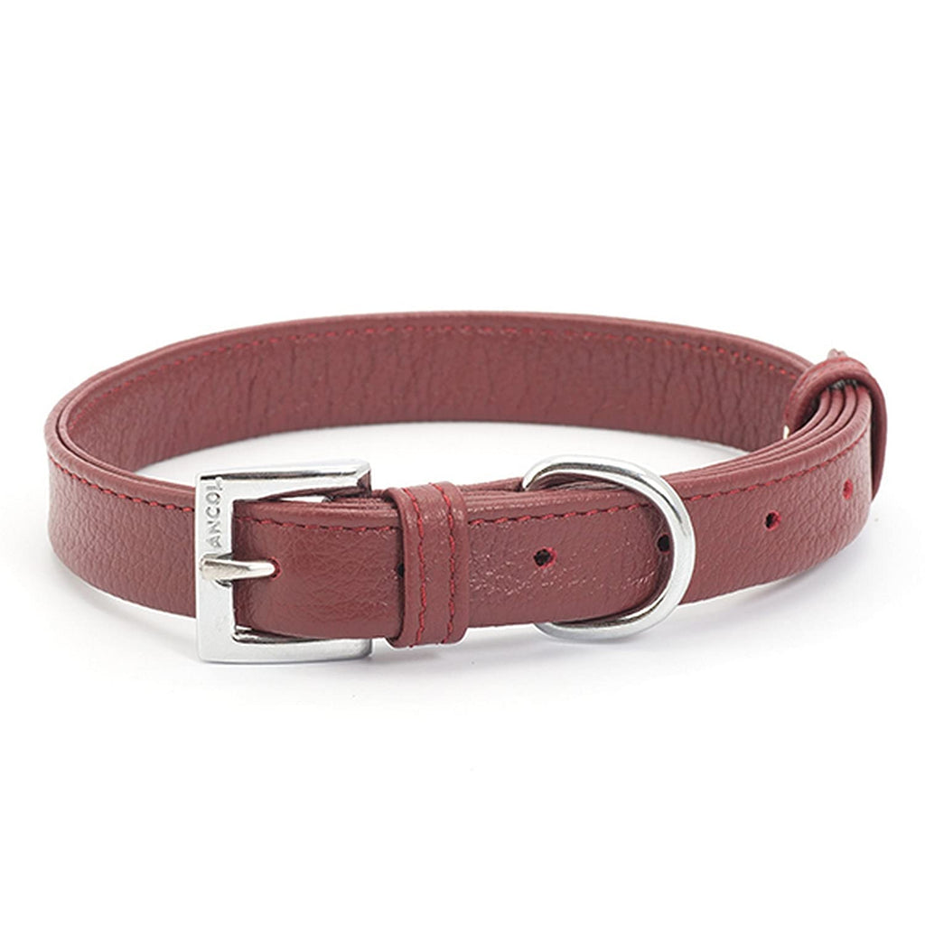 Ancol Indulgence Folded Leather Collar Red Small 26-36cm