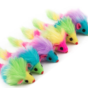 Furry Mice Cat Toys Pack Of 6