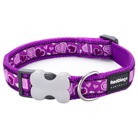 Red Dingo Breezy Love Dog Collar, Purple, Large, 41-64cm x 25mm