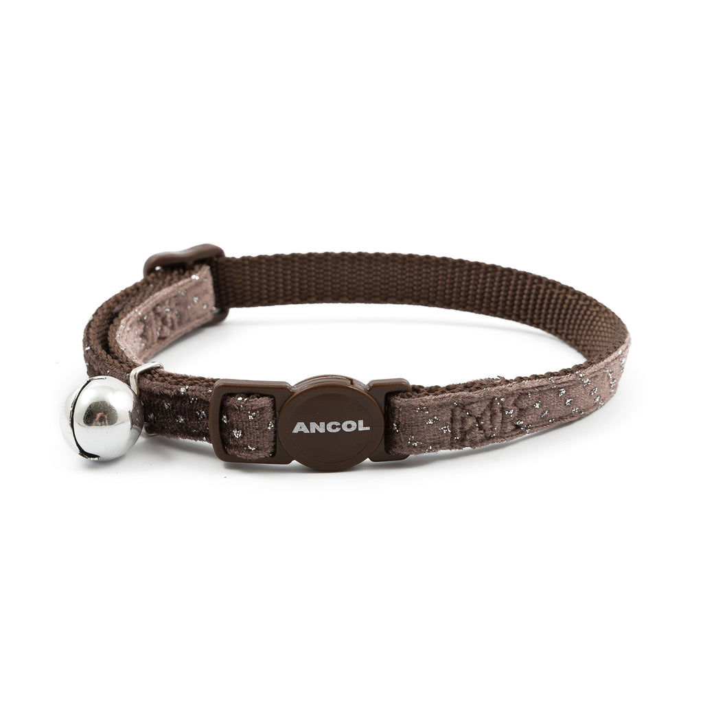 Ancol Velvet Sparkle Safety Cat Collar Coffee, Coffee
