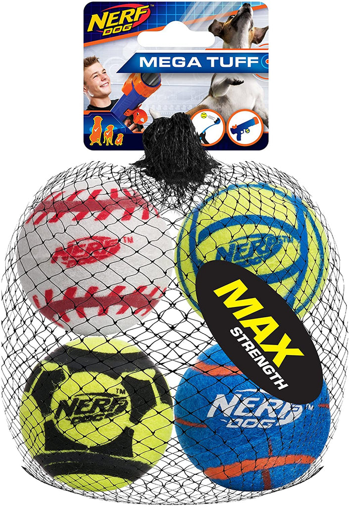 Nerf Dog Mega Strength Sports Balls Toy, Medium, Pack of 4