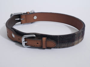 Rosewood Luxury Leather Dog Collar & Lead Tartan Tweed Check