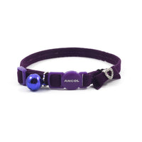 Ancol Velvet Heart Cat Collar Purple