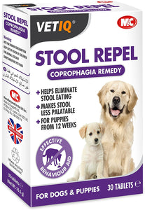 VetIQ Stool Repel 30 Tabs Coprophagia Remedy Helps Stop Stool Eating