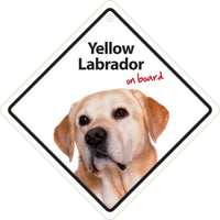 Yellow Labrador Dog On Board Car Window Sign