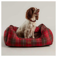 Joules Red Country Tweed Percher Square Dog Bed