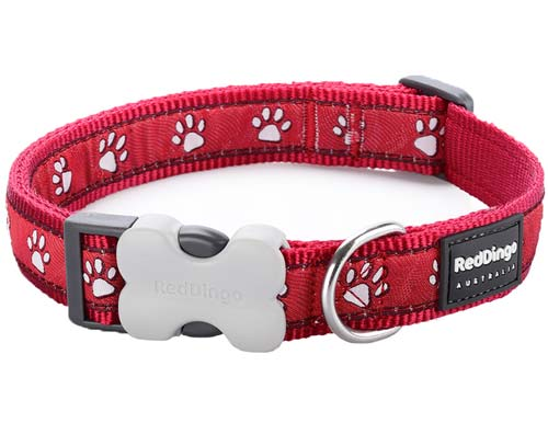 Red Dingo Paw Prints Dog Collar, Red