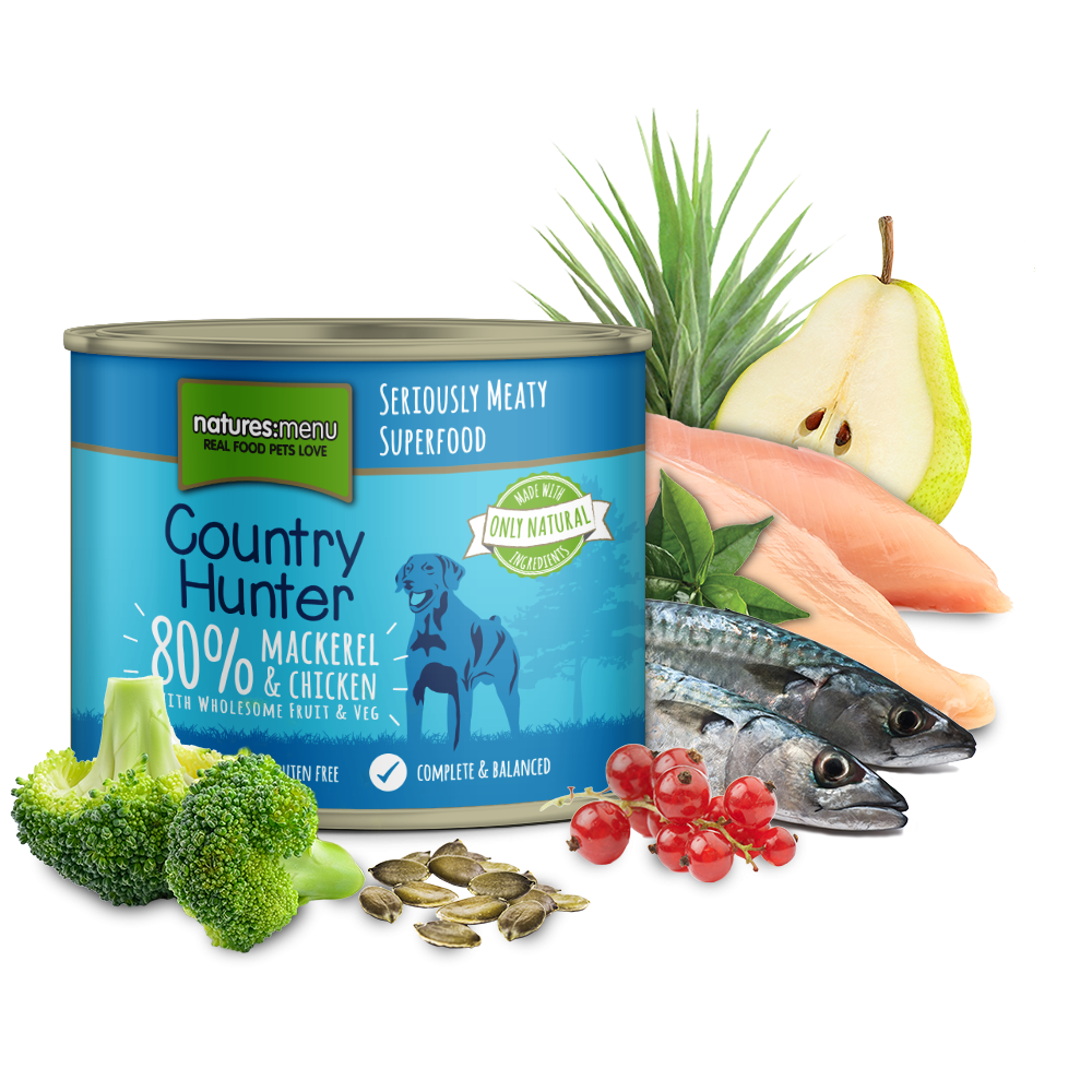 Natures Menu Country Hunter Delicious Mackerel With Chicken Dog Can 600g