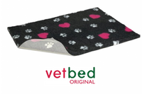 Vetbed Non Slip Charcoal Cerise Heart White Paws