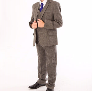 Baby Boys 5 piece Herringbone grey suit £60 0-3/3-6/6-9/9-12/12-18/18-24 months 2 3 years