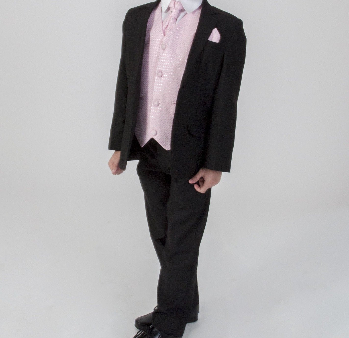 7ecd111380bb Baby Boys 5 piece black suit with Pink waistcoat £50 0-3/3-6/6-9/9 ...
