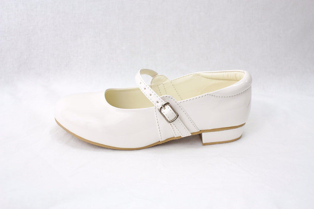 Girls White crystal patent flat shoes infant 10/11/12/13 junior 1/2/3 £25