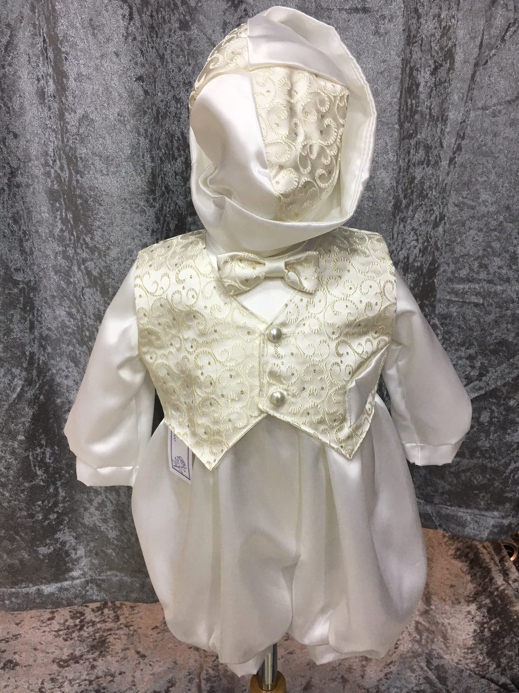 Baby Boys Gold and Ivory Occasion Romper, Jacket and Hat £35 NOW £15