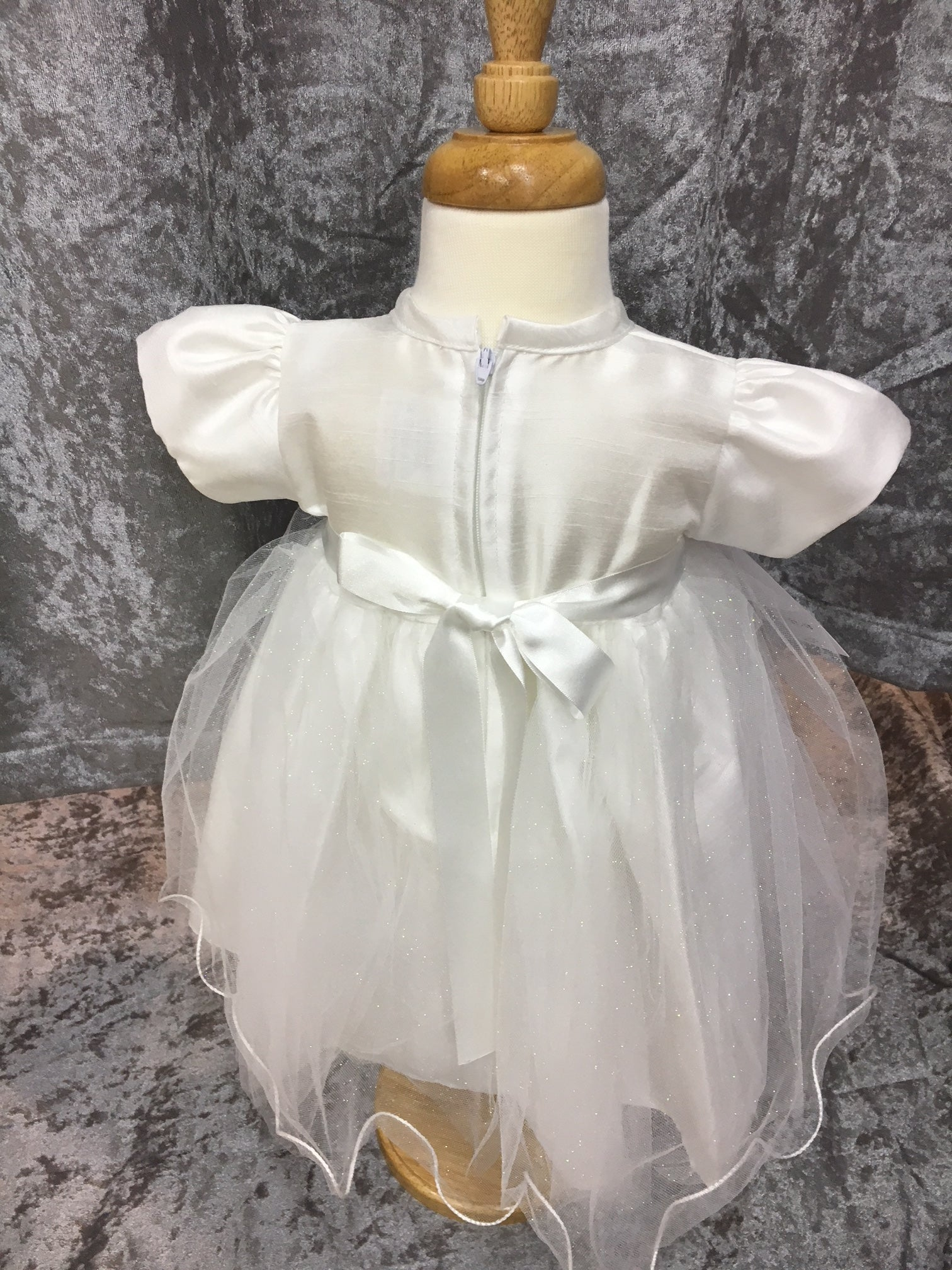 273c4fd818767 ... Baby Girls White Satin Bow and Sparkle Dress Occasion wear Only £27  Newborn up to