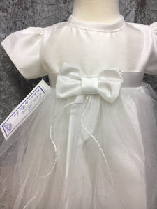 Baby Girls White Satin Bow and Sparkle Dress Occasion wear Only £20 Newborn up to 18 Months
