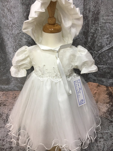 Baby Girls Floral Bodice Christening Dress with Bonnet by Eva Rose