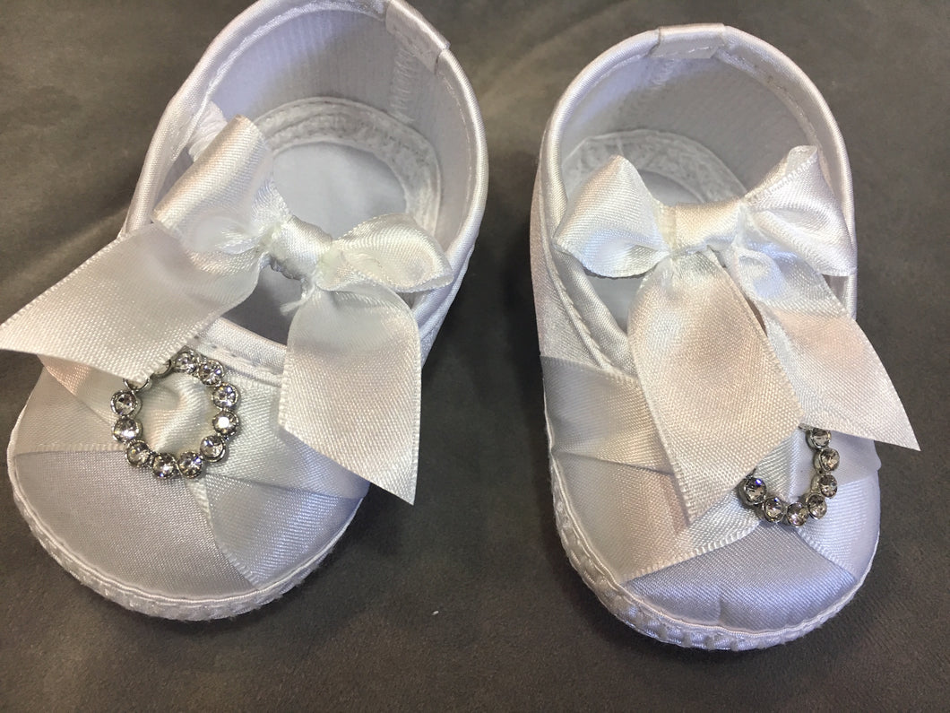 baby girls christening shoes white diamante bow front satin £7.50