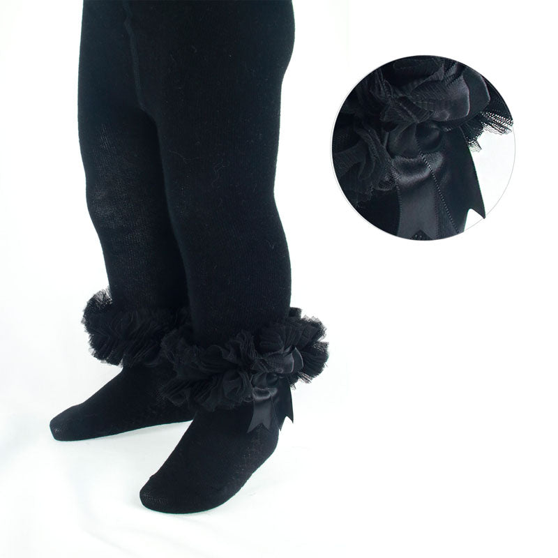 Baby Girls cotton frilly black tights organza lace and bow newborn to 12 months £8