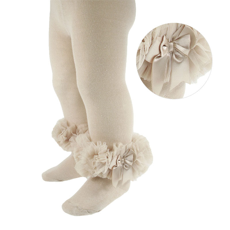 Baby Girls cotton frilly beige tights organza lace and bow newborn to 12 months £8