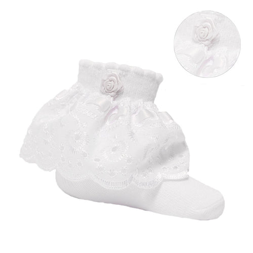 Baby girls white rose and lace ankle socks newborn to 24 months £3