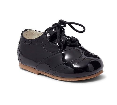 Baby Boys Black Patent tie up occasion shoes infant size 1 to 8 £18