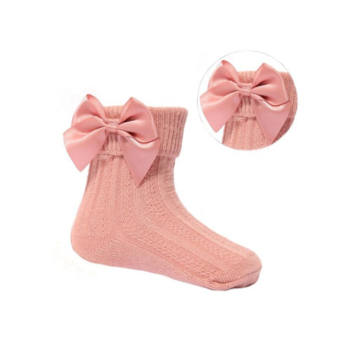 Baby Girls salmon bow ankle socks newborn to 24 months £3
