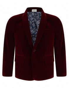 Boys burgundy velour formal jacket paisley lining 1-15 years £30