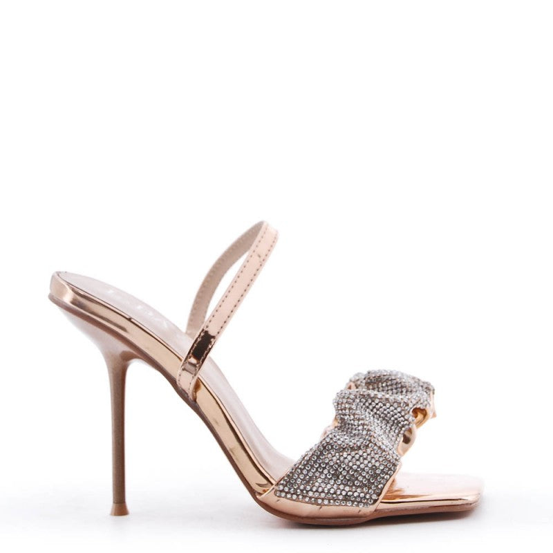 Ladies pink faux leather heeled sandal sizes 36 to 41 £24