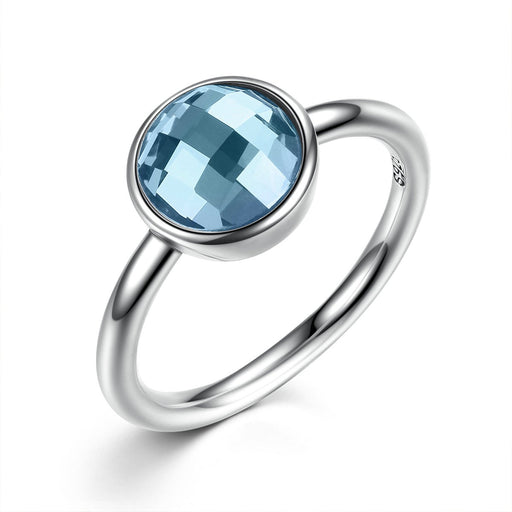 March Birthstone Silver Ring