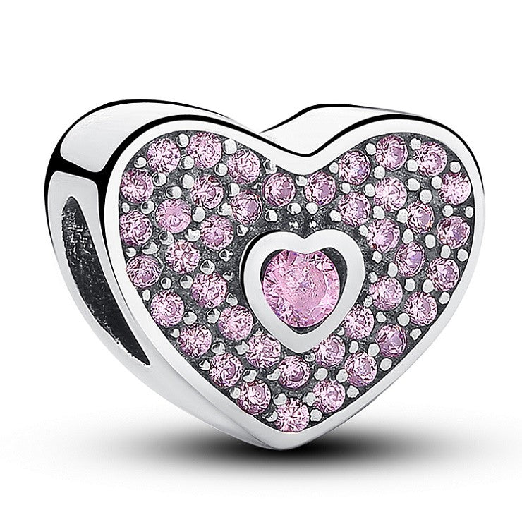 Purple Crystal Silver Heart Charm for Charm Bracelets