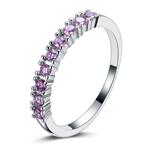 Purple Eternity Silver Ring