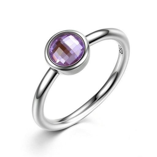 February Birthstone Droplet Silver Ring