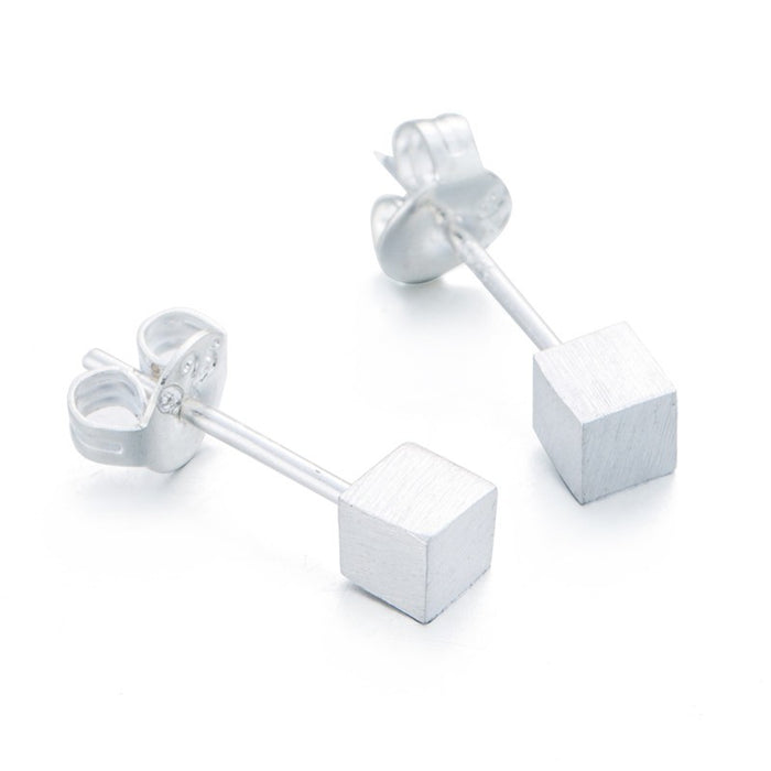 Tiny Cube Silver Earrings
