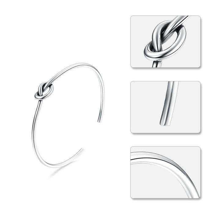Love and Friendship Knot Silver Bangle