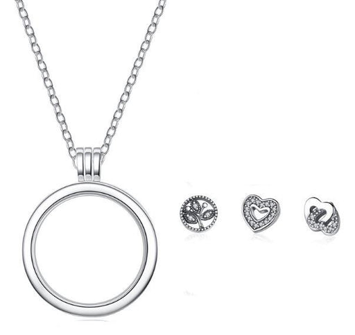 Silver Floating Locket Necklace - Tree of Life & Hearts charms