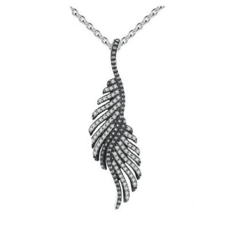 Silver & Cubic Zirconia Angel Wing Necklace