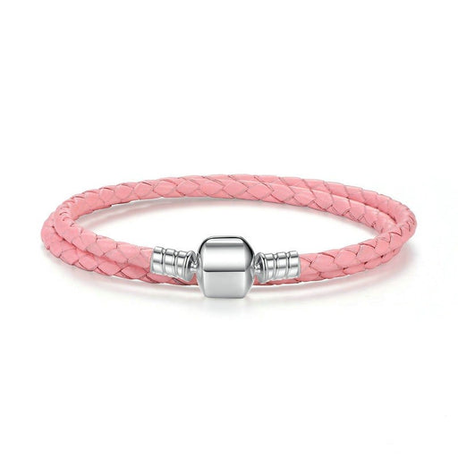 Pink Leather & Silver Bracelet Double Wrap