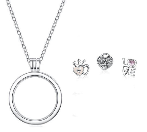 Silver Floating Locket Necklace (Pink Hearts & Love Charms)
