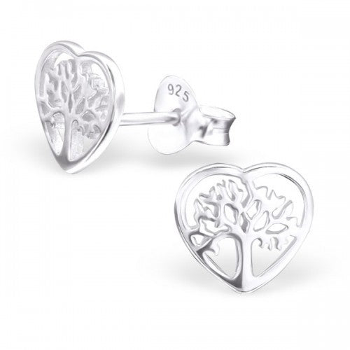 Tree of Life Heart Silver Earrings