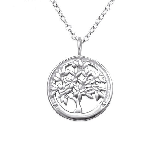 Circle Tree of Life Silver Necklace
