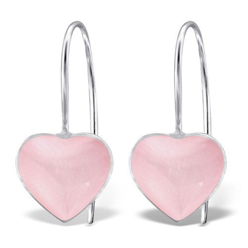 Heart Shell Drop Silver Earrings